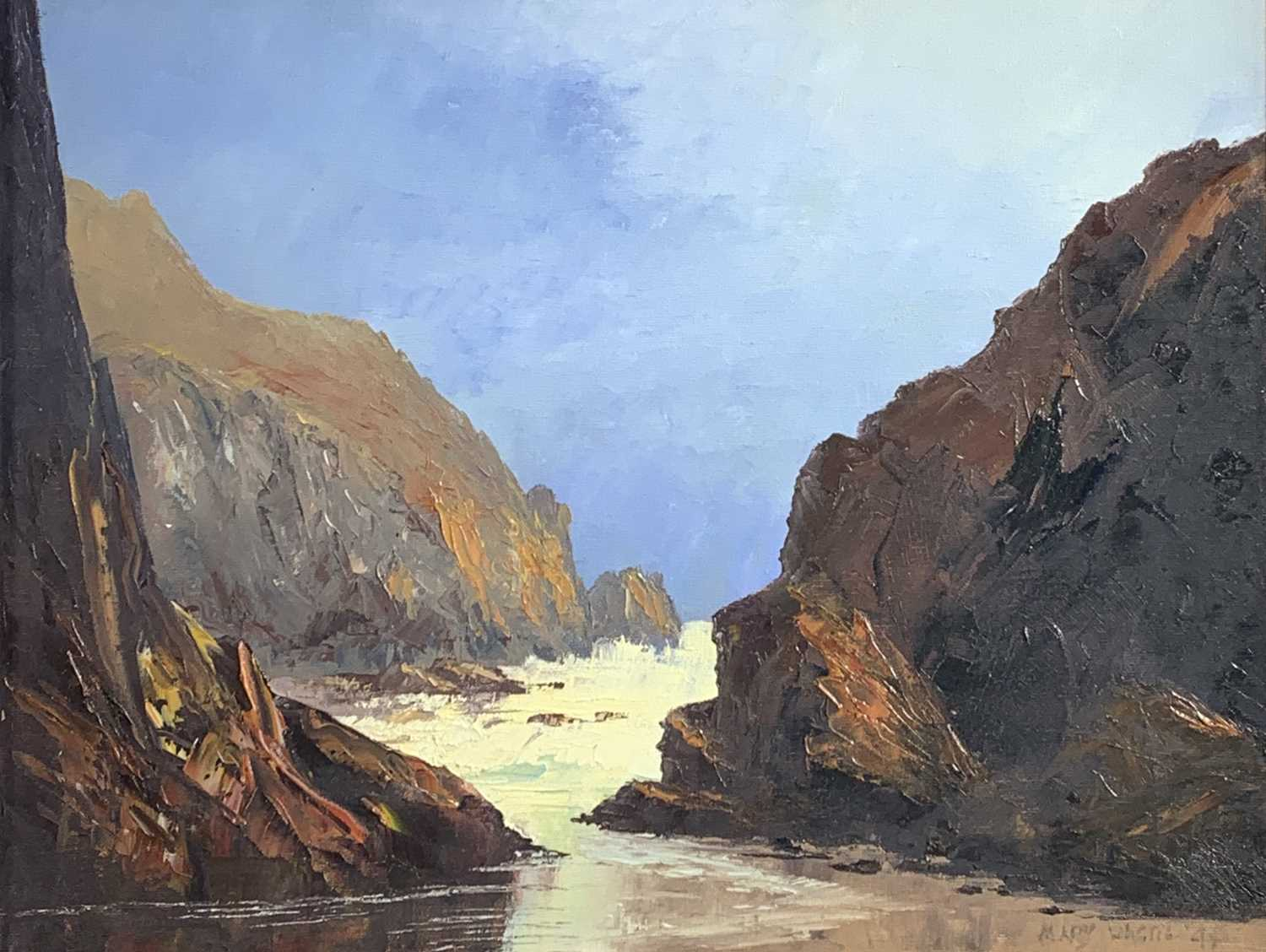 Lot 15 - Mary WASTIE (1935) Kynance Cove Oil on canvas...