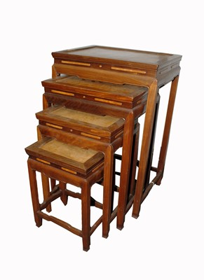Lot 26-A Chinese hardwood quartetto of tables, with...