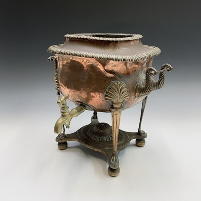 Lot 3-A George III twin handled copper and brass tea...
