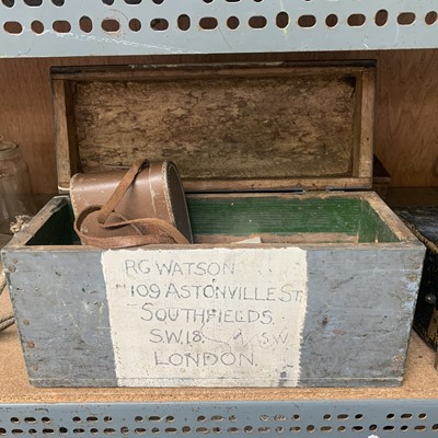 Lot 13-A wooden ammo box, together with two pairs of...