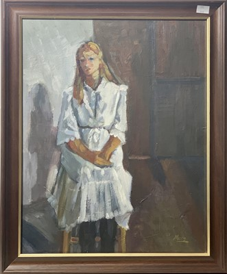 Lot 47 - Moreen MOSS (1927-2012) Girl in a White Dress...