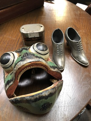Lot 3-A wooden tribal mask in the form of a frog,...
