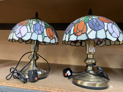 Lot 5-Two tiffany style lamps.