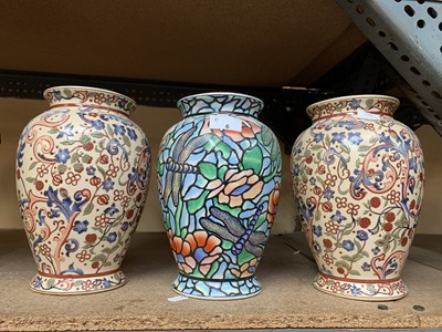 Lot 6-Three Chinese vases, two matching and one with...