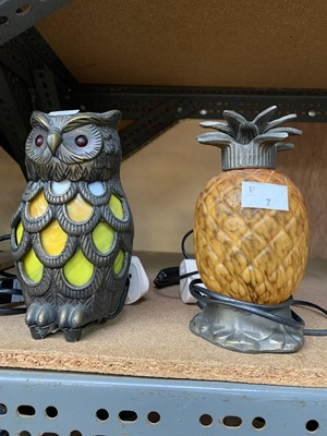 Lot 7-Two electric lamps - one in the form of an owl,...