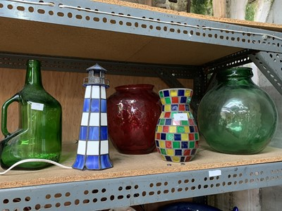 Lot 11-A lighthouse lamp, four glass items including...