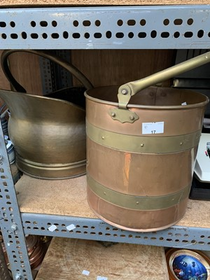 Lot 17-A brass coal bucket and one other riveted...