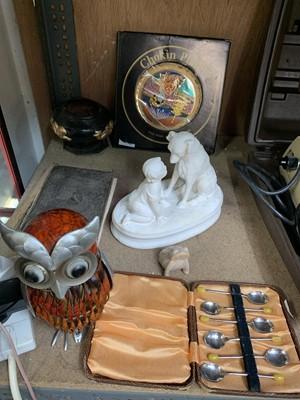 Lot 23-A Chokin golden-edged plate, an owl ornament,...