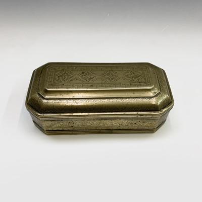 Lot 27-A Malay brass canted rectangular betel box,...