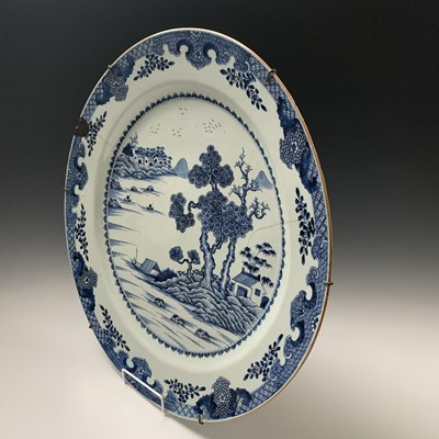 Lot 12-A large Chinese blue and white porcelain...