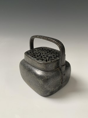 Lot 30-A Chinese bronze hand warmer, 18th/19th...