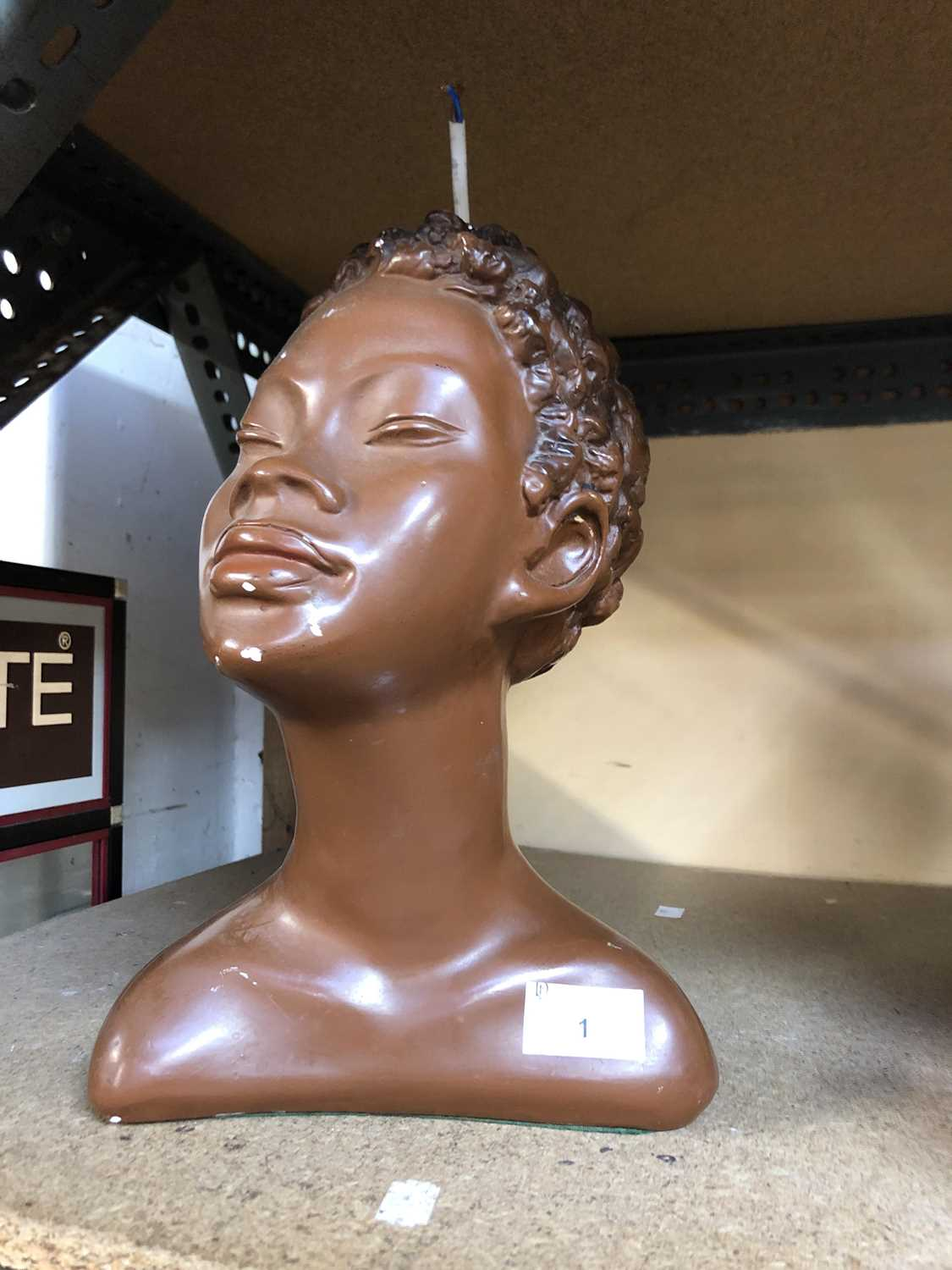 Lot 1 - A 1930s plaster female bust, converted to a...