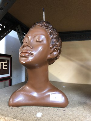 Lot 1-A 1930s plaster female bust, converted to a...