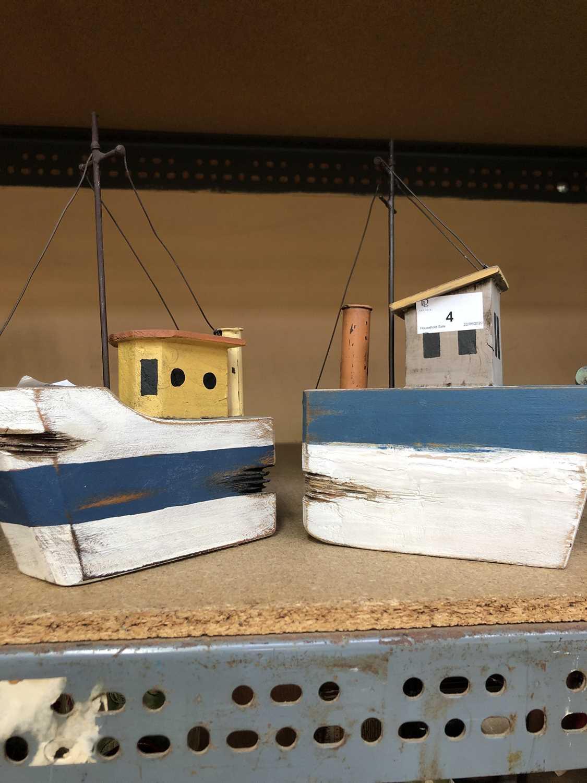 Lot 4-Two naive wooden fishing boat models