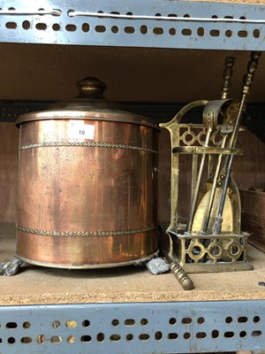 Lot 10-A brass coal bin and companion set.