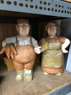 Lot 12-Two large humorous ceramic figurines of a...
