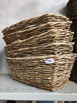 Lot 43 - Five rectangular wicker baskets