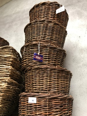 Lot 46 - Five circular wicker baskets, each containing...