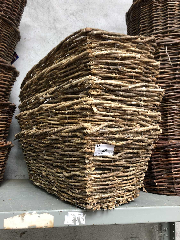 Lot 45 - Five rectangular wicker baskets