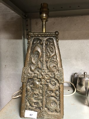 Lot 47 - An unusual metal lamp base with gothic style...