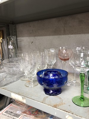 Lot 54 - A collection of cut glass, coloured glass,...