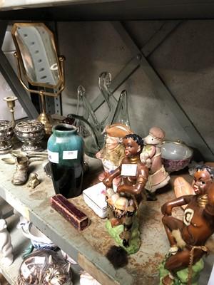 Lot 56 - Pair of small brass candlesticks, E P N S tea...
