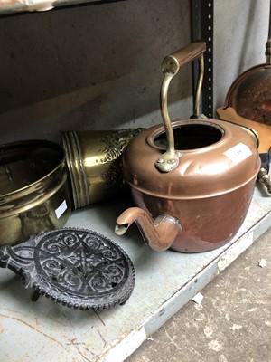 Lot 58 - Copper kettle, brass cauldron, copper warming...