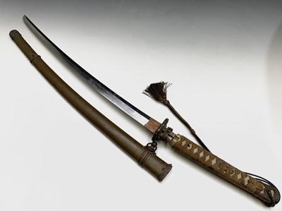 Lot 25-A Japanese WWII Katana sword, handle signed,...