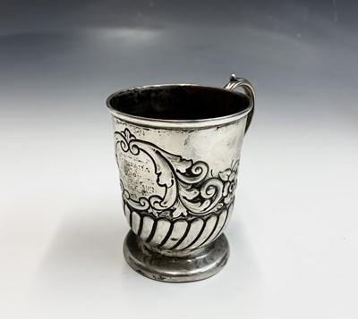 Lot 1-An Edwardian silver christening mug, half...