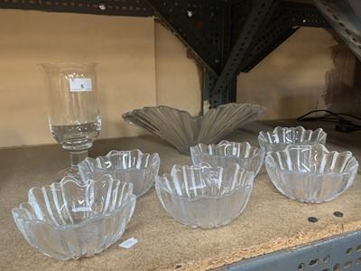 Lot 5-Six Dartington crystal glass bowls, a larger...
