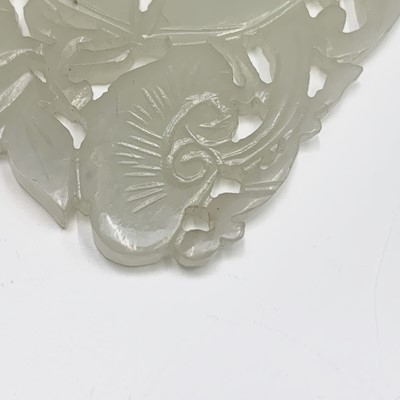 Lot 18-A Chinese carved & pierced white jade plaque,...