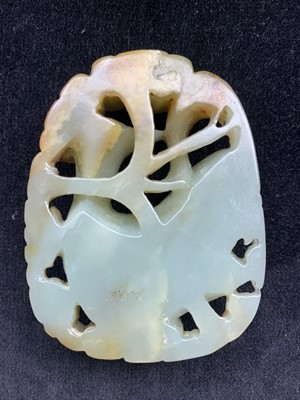 Lot 19-A large Chinese carved & reticulated celadon...