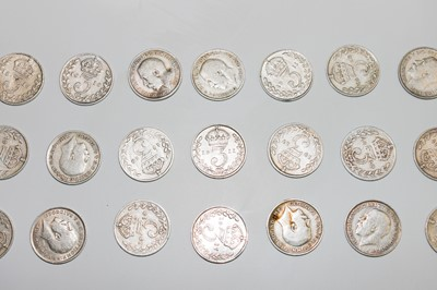 Lot 21 - 87 pre-1920 silver 3ds, a few in better grade.