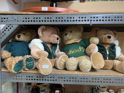 Lot 1-Four Harrod's Christmas collectable teddy bears.