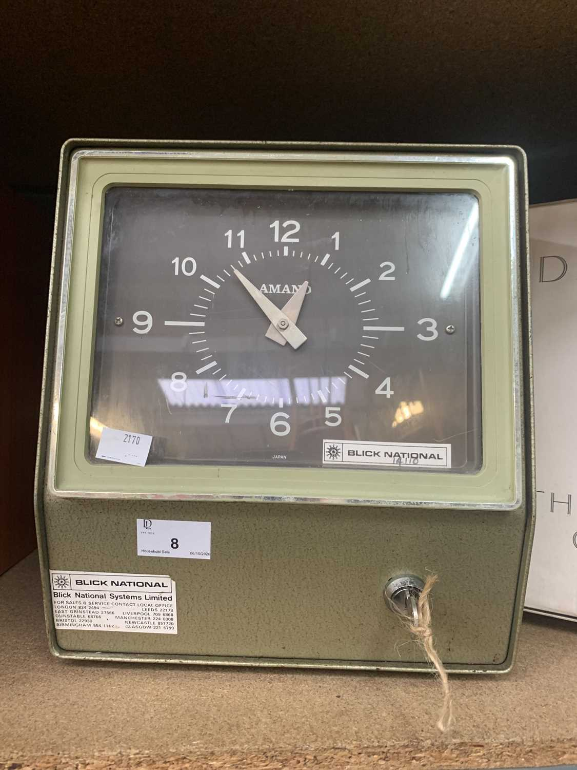 Lot 8 - A Blick National clocking-in clock.