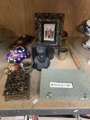 Lot 23 - Oriental items - an Indian wooden make-up box,...