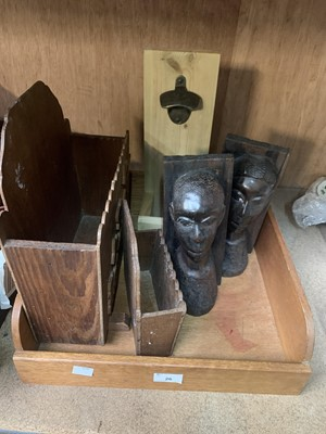 Lot 26-Wooden items - African hardwood bookends, a...