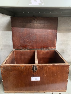 Lot 40-Rustic wood box with sectioned interior.