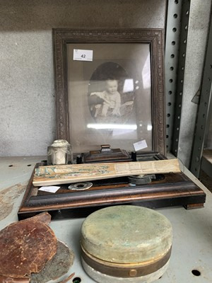 Lot 42-A walnut desk set and ink stand, vintage photo...