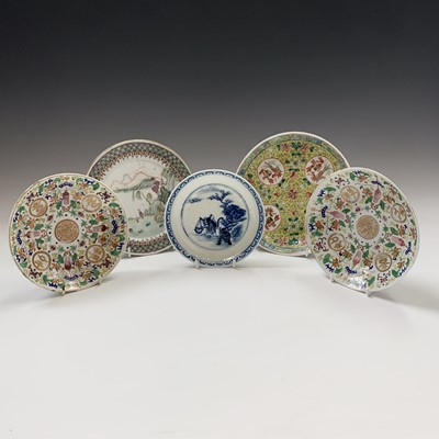 Lot 45-A pair of Chinese famile rose plates, 19th...