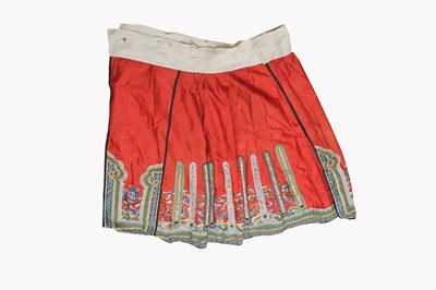 Lot 41-A Chinese silk embroidered skirt, Qing Period,...