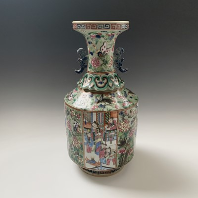 Lot 43-A Chinese Canton twin-handled celadon vase,...