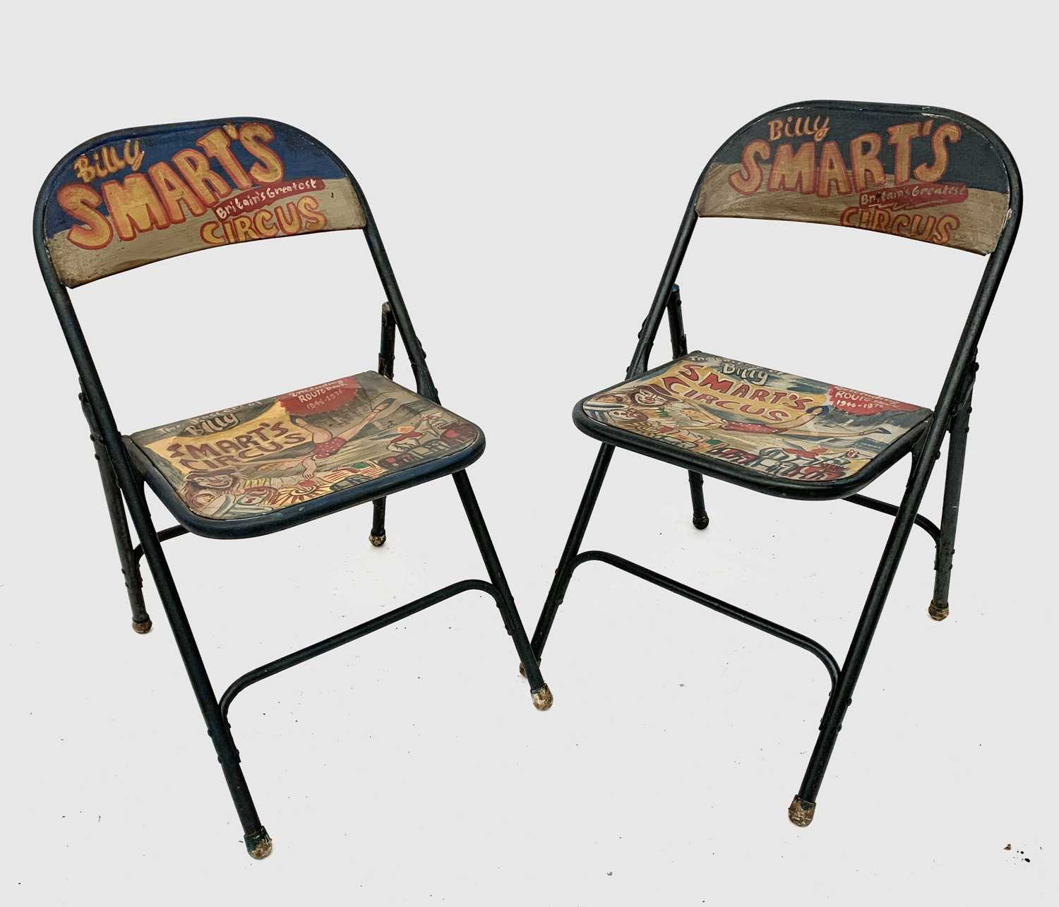 Lot 3249 A Pair Of Painted Metal Folding Chairs