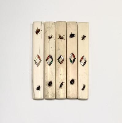 Lot 13-Five Japanese shibayama cutlery handles, 19th...