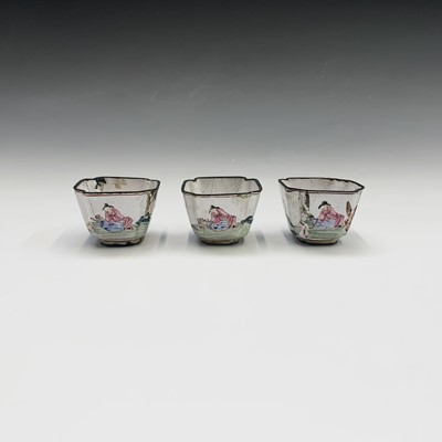 Lot 39-A set of three Chinese enamel famille rose...