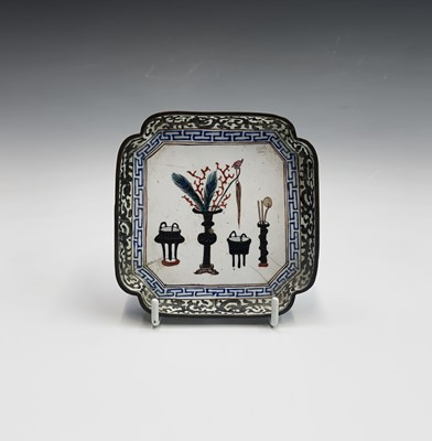 Lot 37-A Chinese Canton enamel tray, 18th century,...