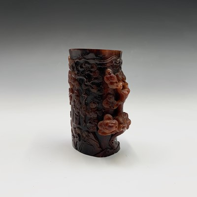 Lot 38-A Chinese carved horn brush pot, height 11.5cm.