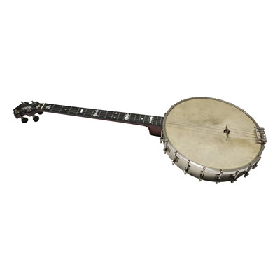 Lot 2-'The Clipper' four string banjo, with label...