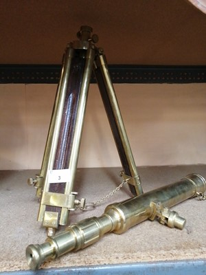 Lot 3-A brass telescope with a matching brass and...