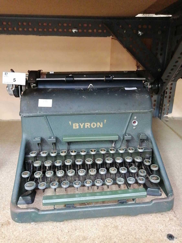 Lot 5-• A 'Byron' typewriter.